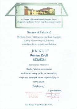 Podziękowania od SP w Krolikowie