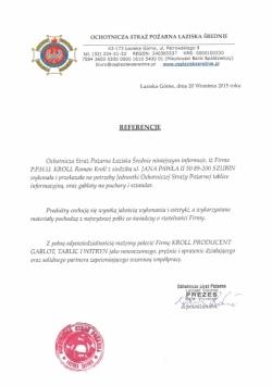 Referencje od OSP Łaziska Średnie