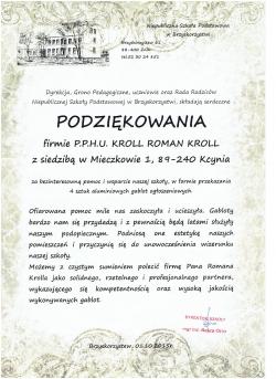 Podziękowanie dla PPHU Roman Kroll od Niepublicznej Szkoły Podstawowej w Brzyskrozystwi