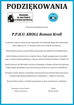 Podziękowanie dla PPHU Roman Kroll